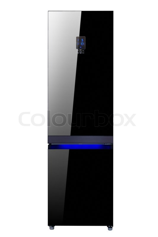 Two Glass Door Shiny Black Refrigerator Isolated On White