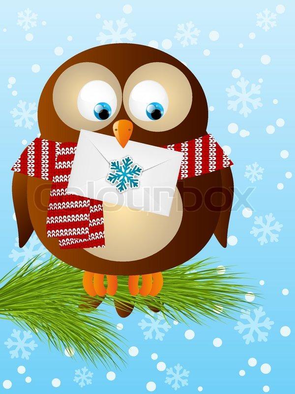 Lustige eule mit weihnachtspost vektorgrafik colourbox - Bilder weihnachtspost ...