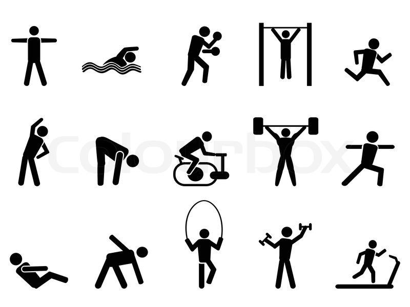 Runner Stick Figure Icons Set Stock Photos