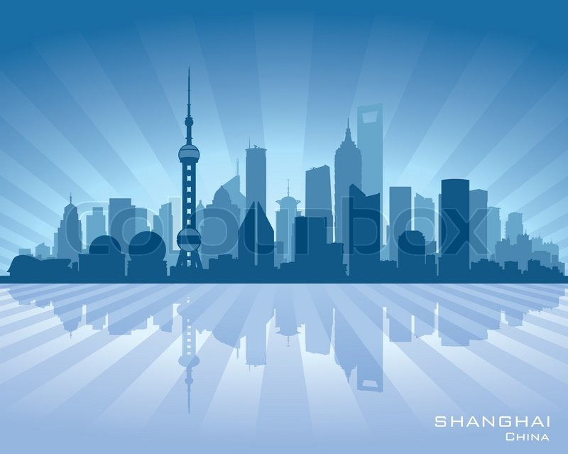 Shanghai China City Skyline Vector Silhouette Stock