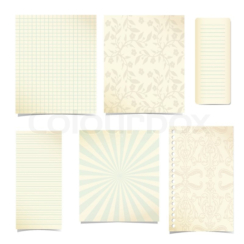 Old Notebook Paper Background Old Paper Notebook Set of