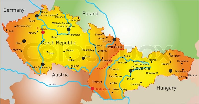 Vector Color Map Of Czech Republic And Slovakia Stock Vector - Czech republic map