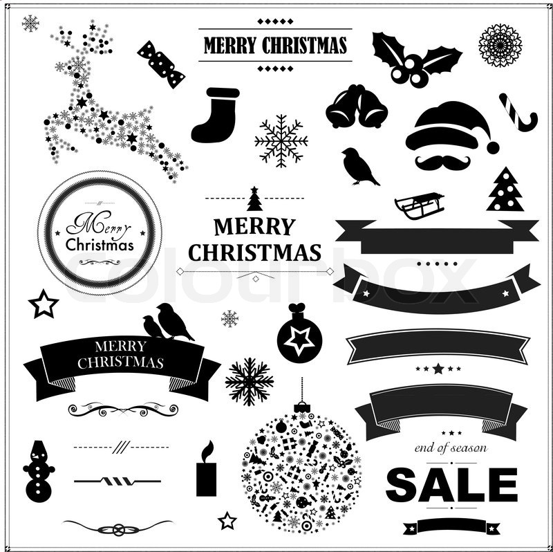 Set Of Vintage Black Christmas Symbols And Ribbons With Gradient