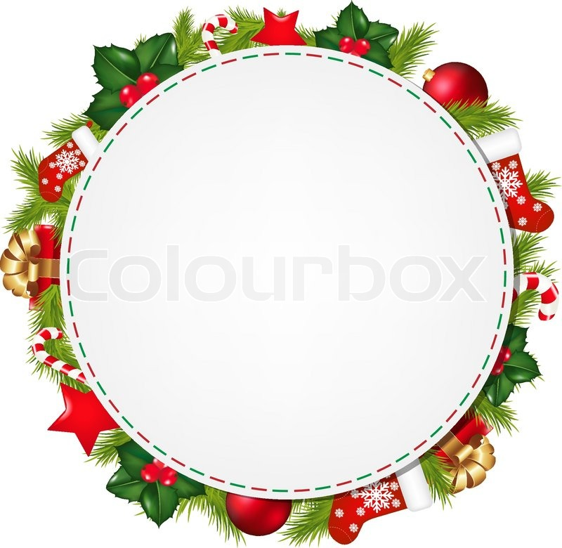 Speech Bubble With Christmas Symbol With Gradient Mesh Vector