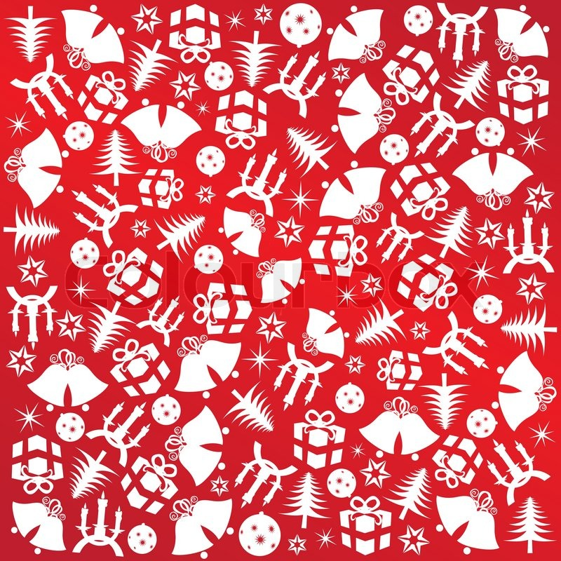 christmas wrapping paper with red symbols gifts decorations and