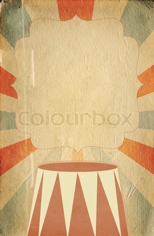 retro circus style poster template on sunbeam background