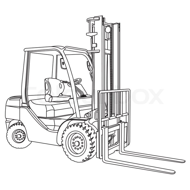 Image Of Forklift Outline Vector