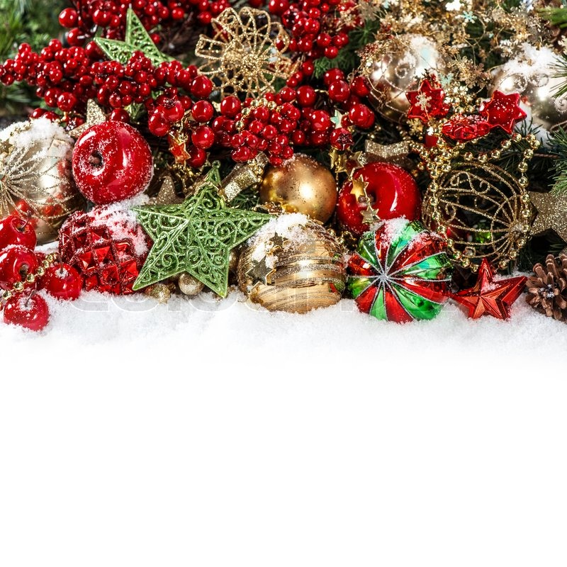 colorful christmas decorations in red gold green stock photo