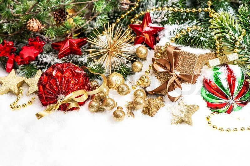 festive christmas decorations in red green gold stock photo