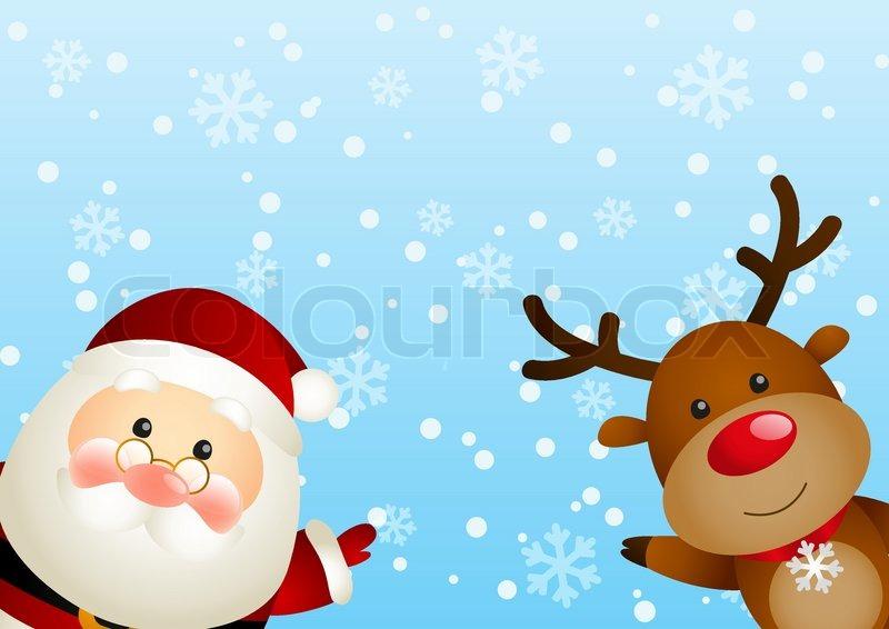 cute santa with funny deer vector colourbox