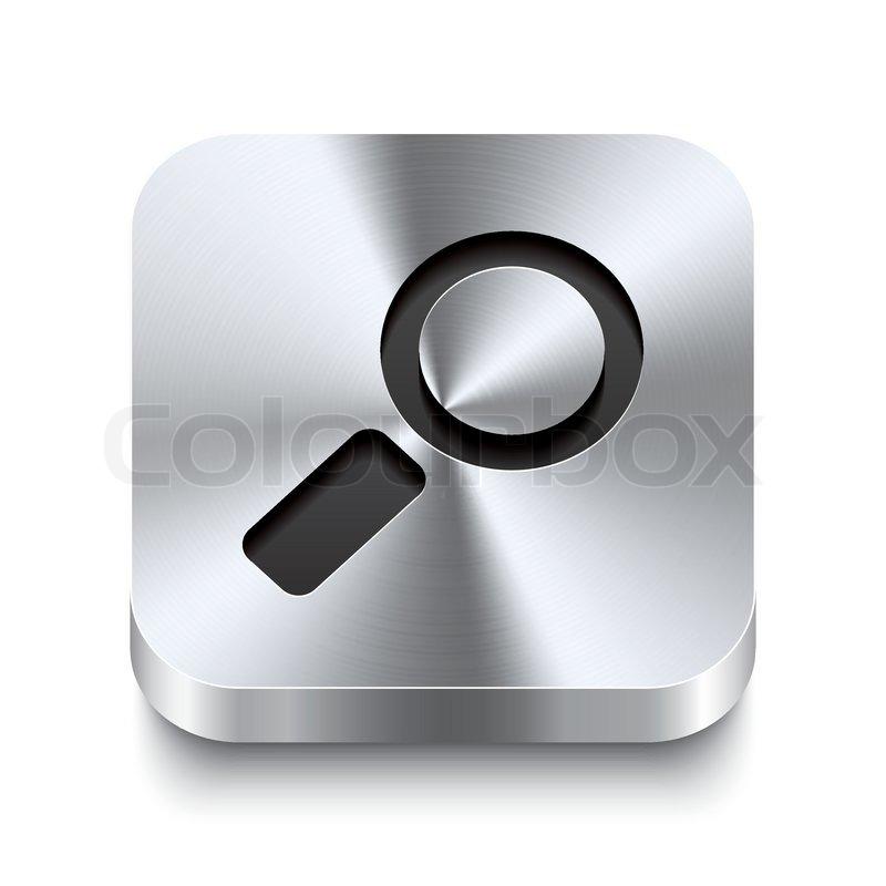 Search: Square Metal Button Perspektive - Search Icon
