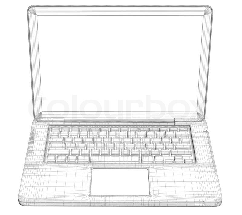 Laptop. Wire frame | Stock Photo | Colourbox