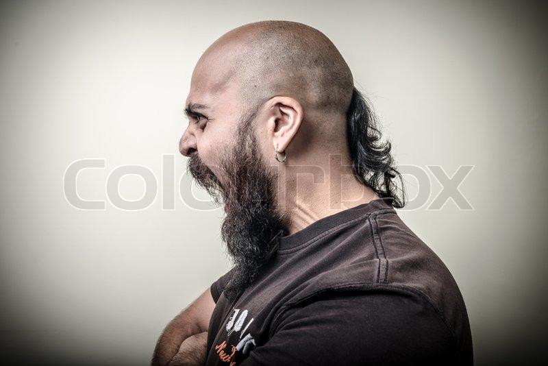profile screaming angry bearded man stock photo colourbox