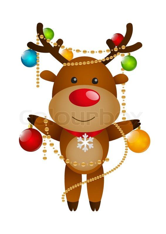 Lustige Weihnachtskugeln.Lustige Hirsch Mit Weihnachtskugeln Stock Vektor Colourbox