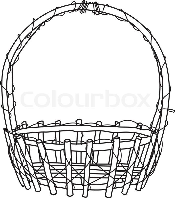 Flower Basket Line Drawing : Wicker basket outline vector stock colourbox