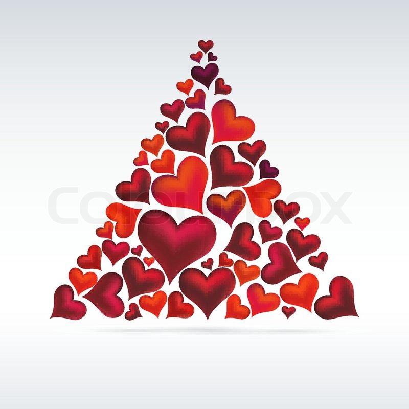 Christmas Heart Vector.Christmas Card Hearts Design Abstract Stock Vector