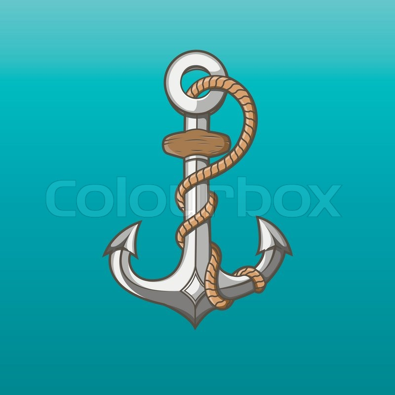 Nautical iron anchor with rope isolated on aqua background for Heavy rope for nautical use