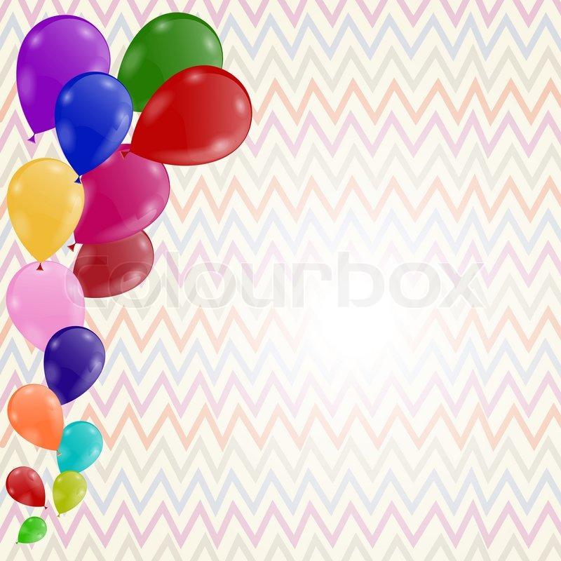 farbigen hintergrund mit luftballons geburtstags-einladung, Einladung