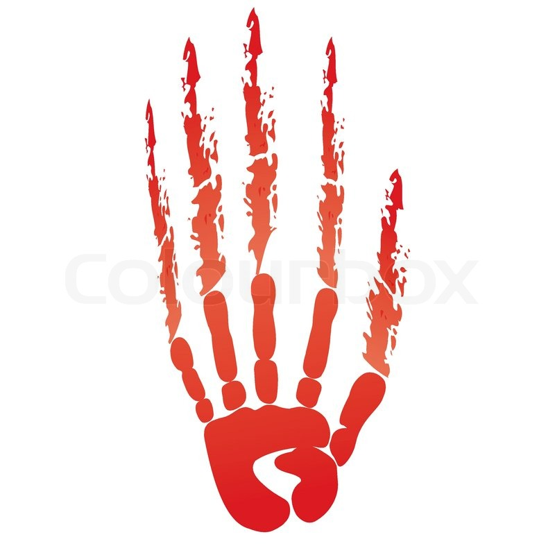 Popular scream red bloody handprints     | Stock vector