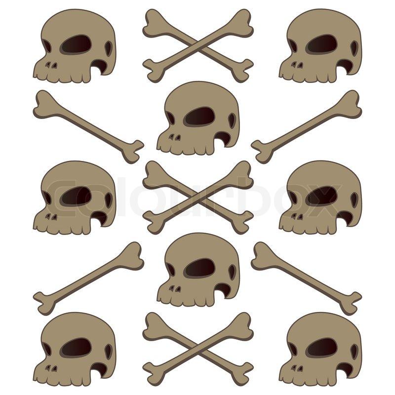 Schädel und Knochen menschlichen vintage isoliert   Vektorgrafik ...