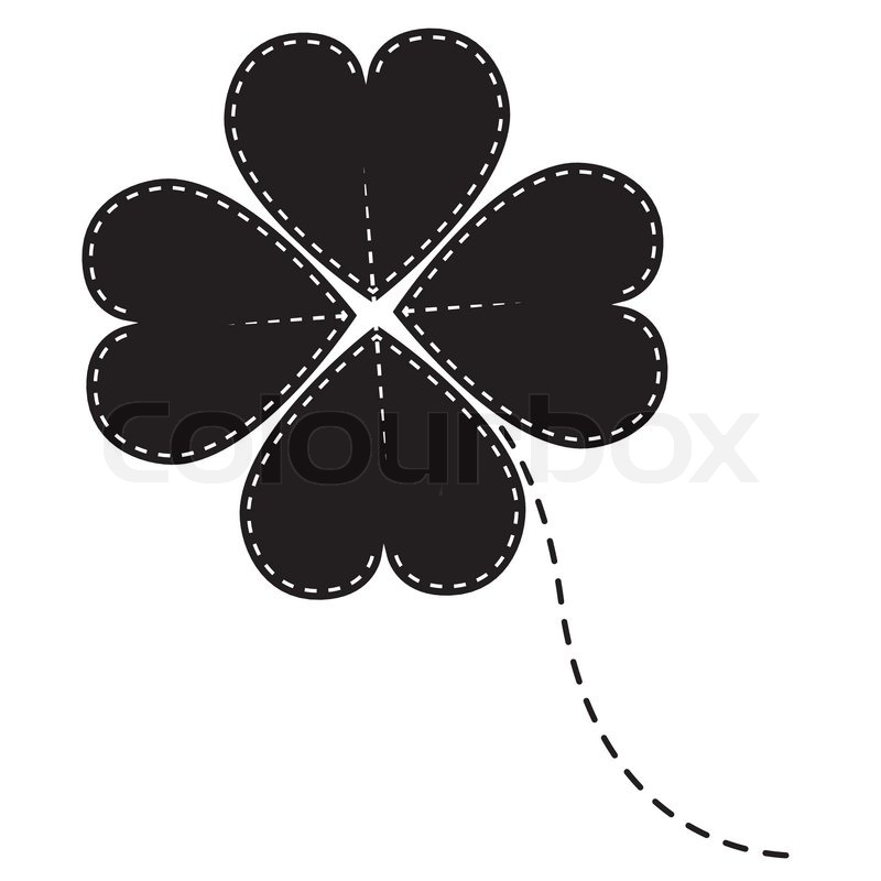 dark black and white clover four leaf vector stock