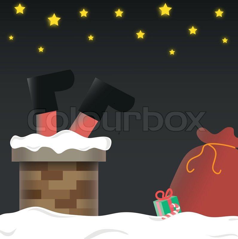 Santa Claus Stuck In Chimney - Vector