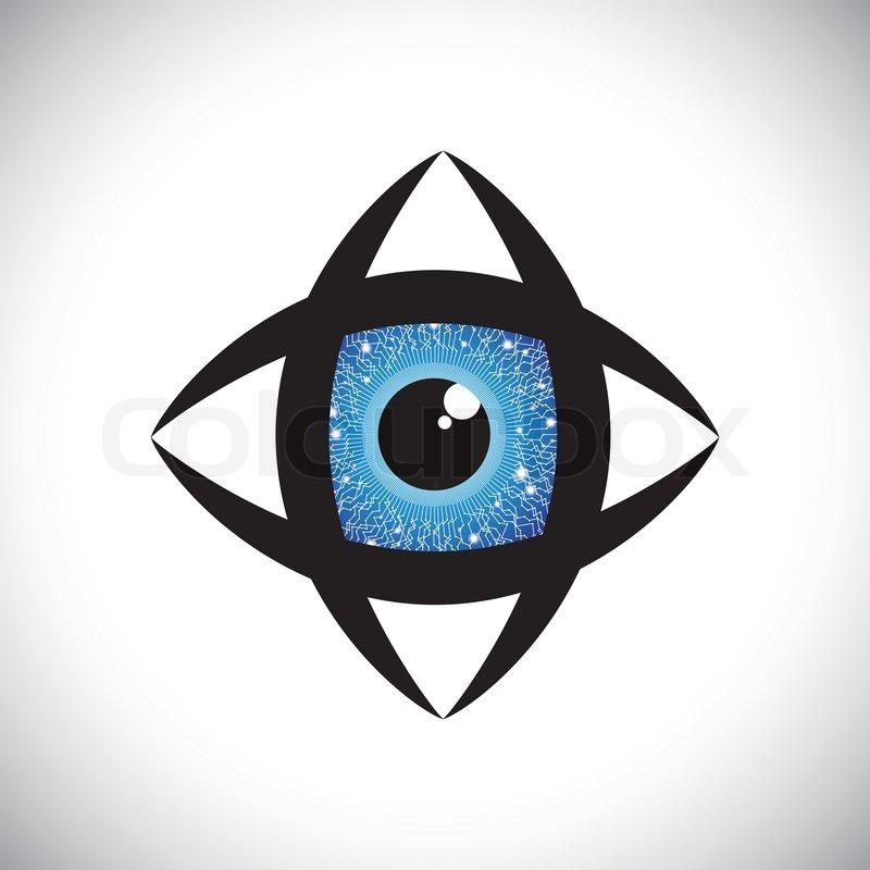 Abstrakte bunte menschliche Auge -Symbol mit elektronischen ...