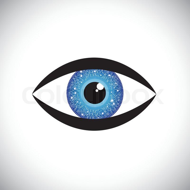 Schöne blaue Farbe menschliche Auge -Symbol mit Tech- Schaltung in ...