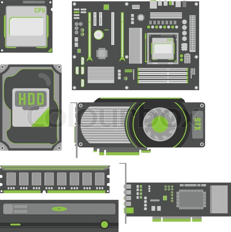 stilvoll einfache computer teile vektorgrafik colourbox. Black Bedroom Furniture Sets. Home Design Ideas