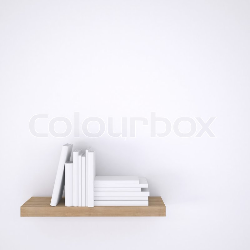 Wooden shelf with books on white wall background. 3d render, stock photo