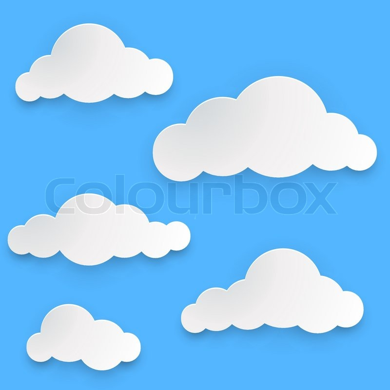 Paper clouds vector template isolated on blue background for How to make a paper cloud