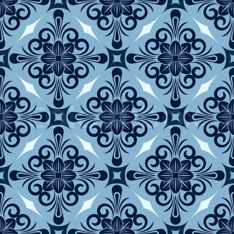 Seamless Winter Blue Diamond Floral Vector Wallpaper Pattern
