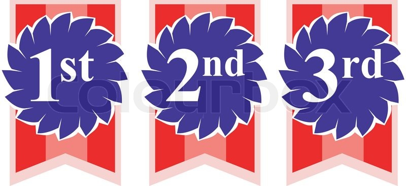 rosette award ribbons with numbers 1st 2nd and 3rd on isolated white ...
