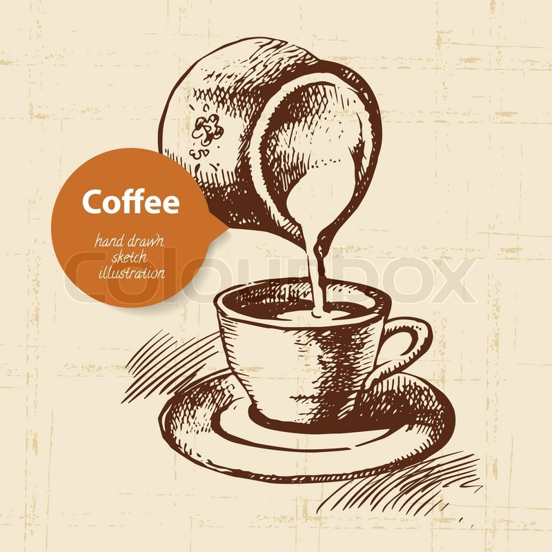 hand drawn vintage coffee background stock vector