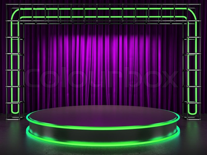 Purple stage curtains fabrick curtain on stage with