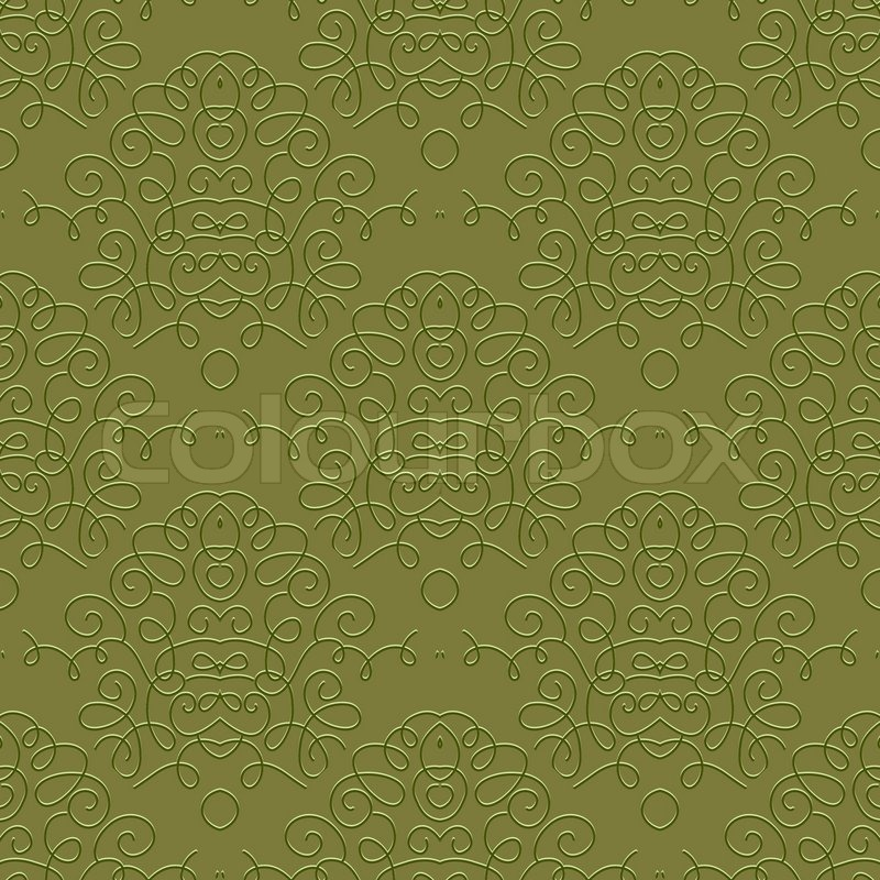 Damask Motif In Olive Green Color Seamless Vector