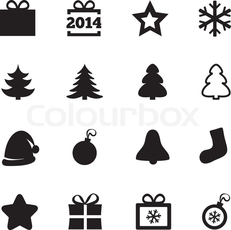 weihnachten schwarz flach symbole neujahr 2014 icons vektorgrafik colourbox. Black Bedroom Furniture Sets. Home Design Ideas
