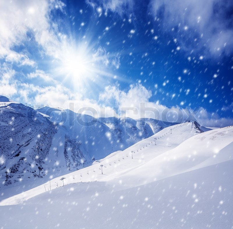 Beautiful Winter Landscape High Mountains Covered With White Snow Frosty Sunny Day Snowy Weather Luxury Ski Resort