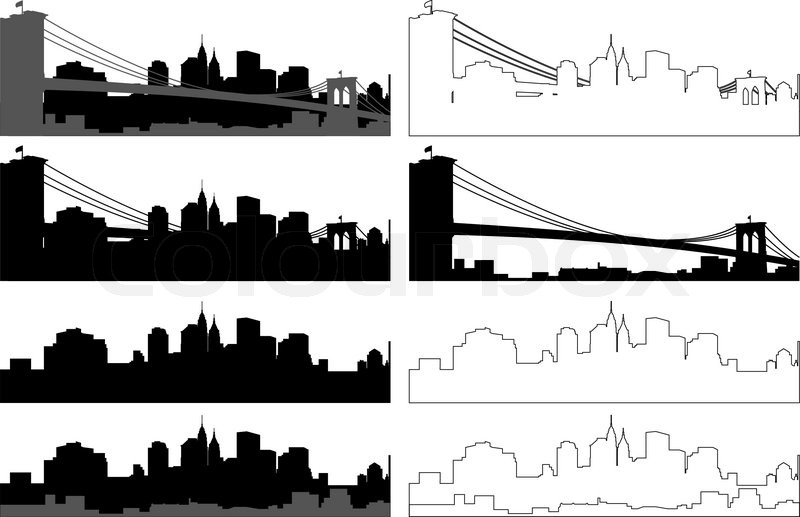 Black And Withe Silhouette Of City Stock Vector Colourbox