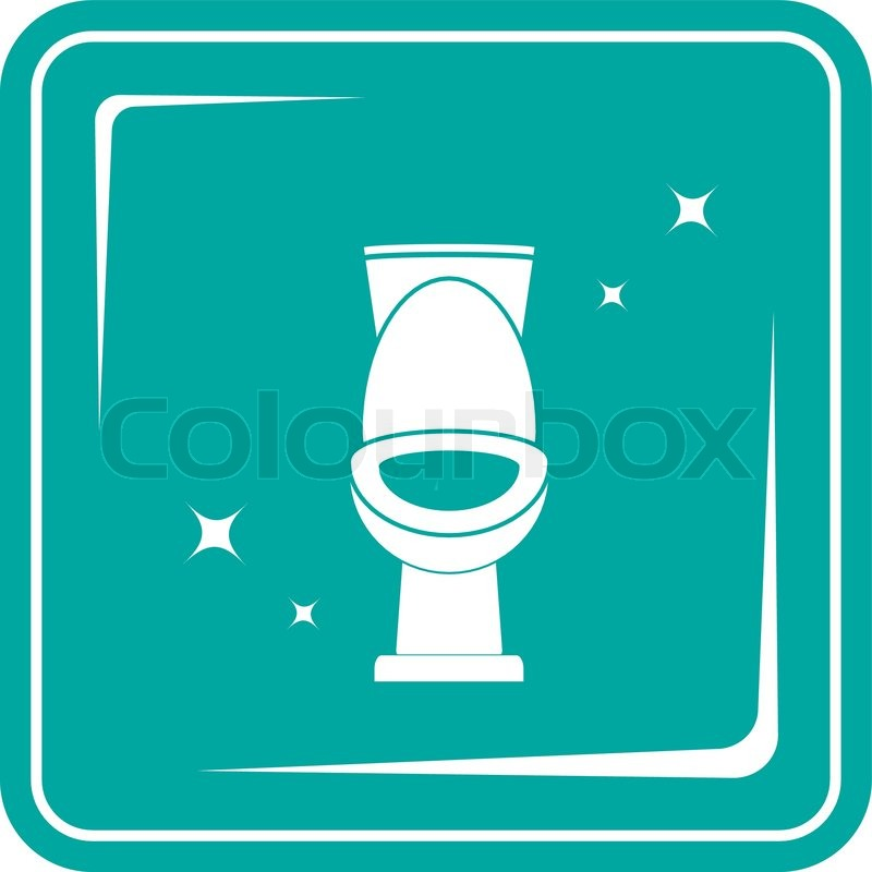 Blue icon with shiny white toilet  vector. Blue icon with shiny white toilet   Stock Vector   Colourbox