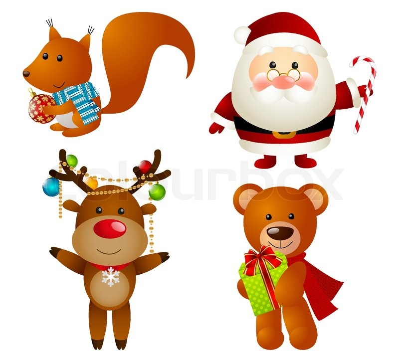 set of christmas cartoon characters stock vector colourbox - Christmas Cartoon Pictures