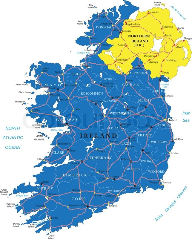 Highly Detailed Vector Map Of Ireland With Administrative Regions - Cities map of ireland