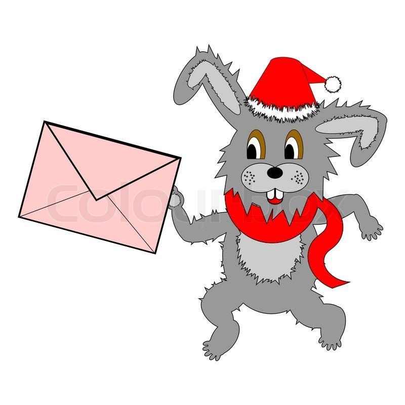 Eine lustige Weihnachten Hase läuft mit einem Buchstaben in seine ...