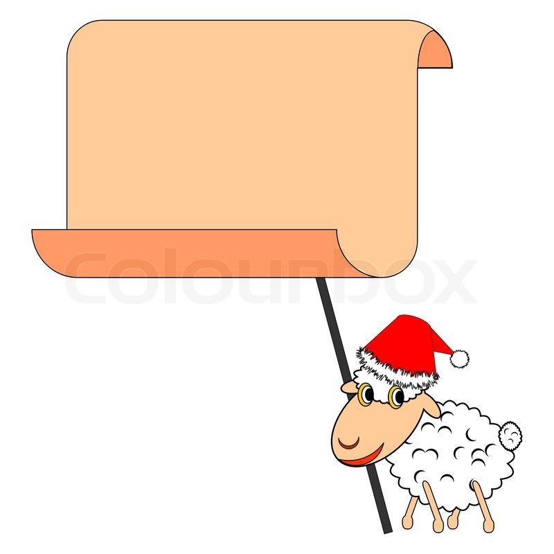Eine lustige Weihnachten Schafe mit einem großen Blankopapier ...