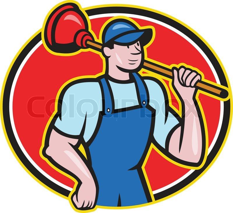 plumber holding plunger cartoon stock vector colourbox