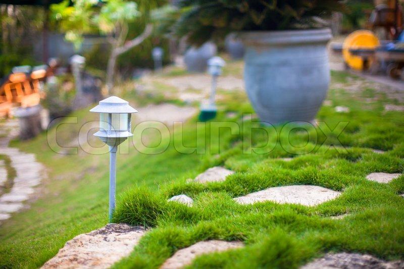 Small flashlight in the garden cute hotel, stock photo