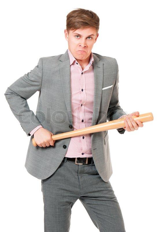 Man With Baseball Bat Stock Photo Colourbox