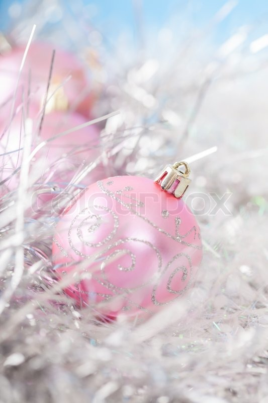 Pink Xmas Ornaments On Bright Holiday Stock Image Colourbox