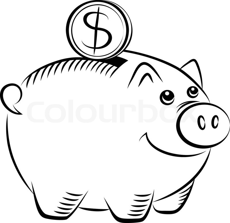 Line Drawing Piggy Bank : Sparschwein symbol vektorgrafik colourbox
