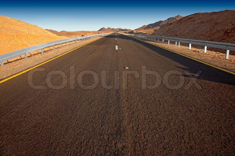 Desert highway Israel - Judean desert, stock photo